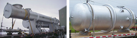 two pictures of heat exchangers