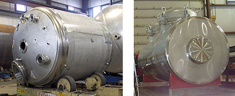 two pictures of process vessels
